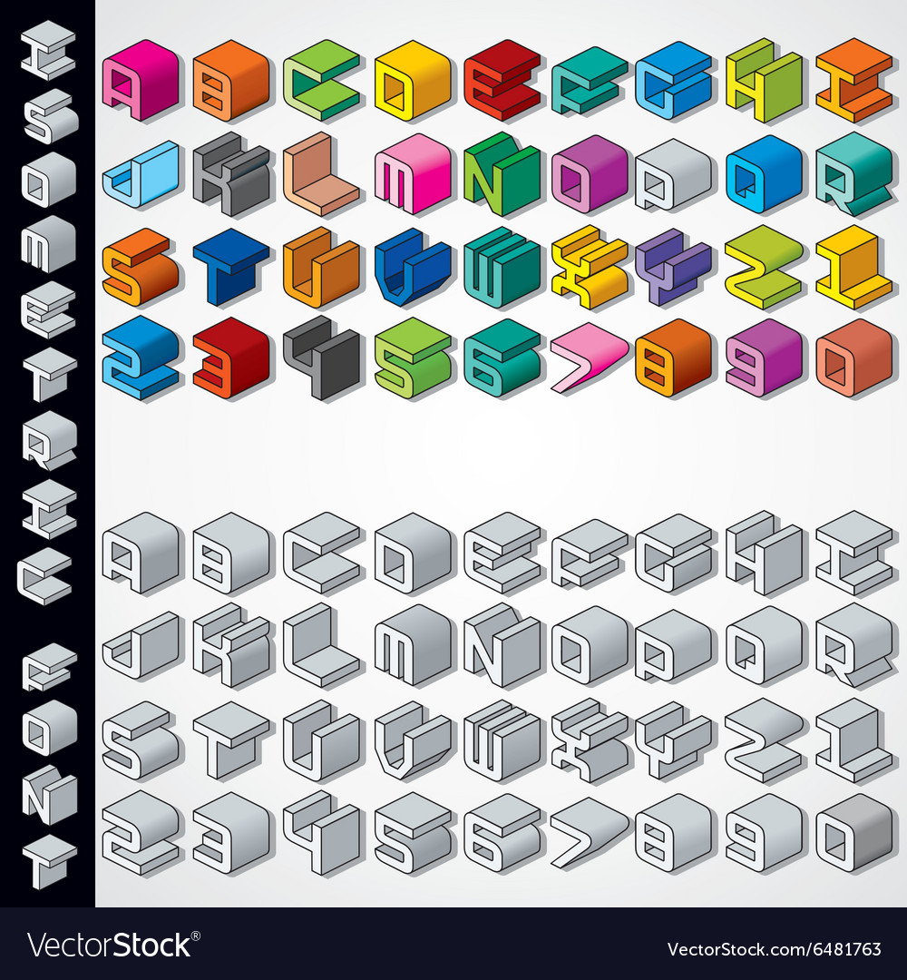 Multicolored and monochrome isometric 3d font vector