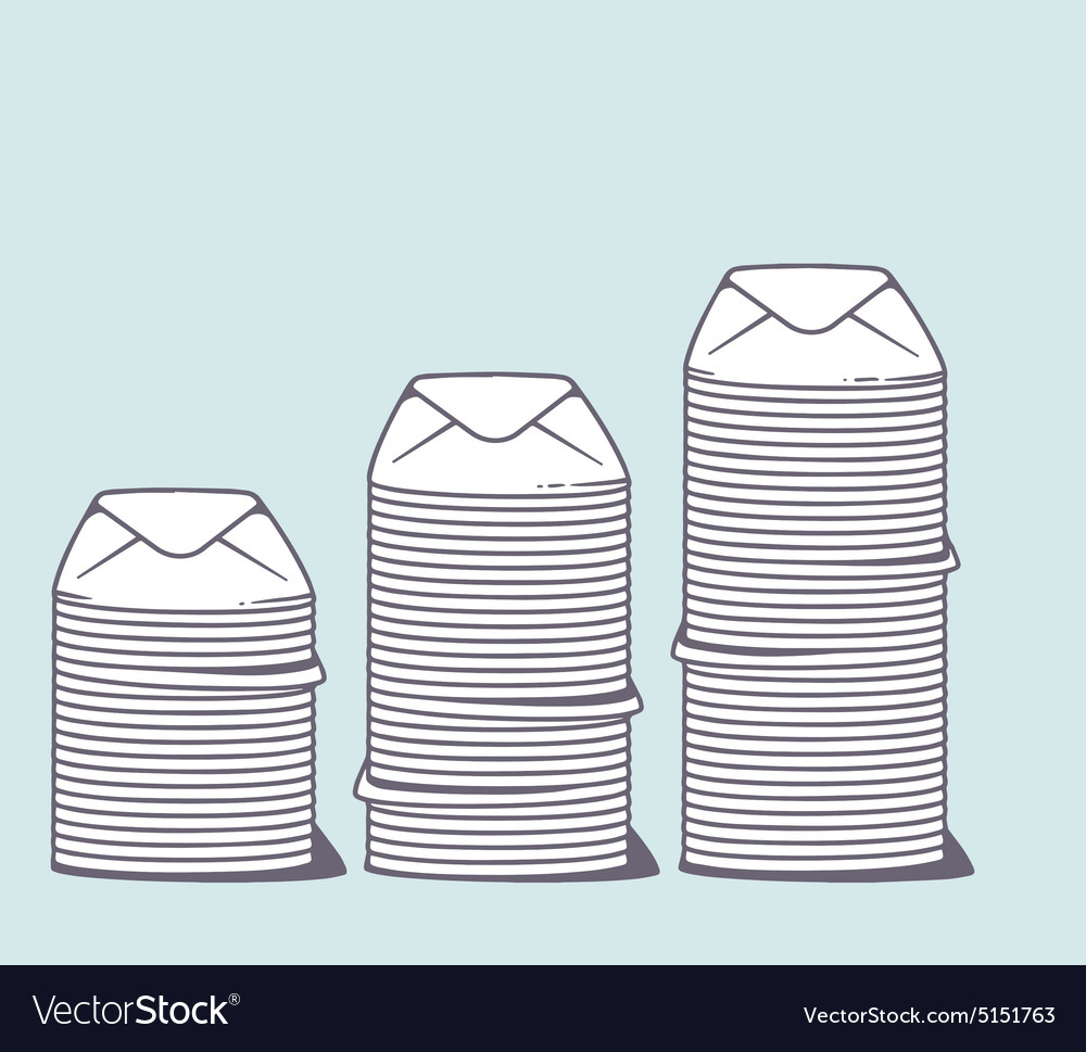 Stacks of white closed envelopes on color vector
