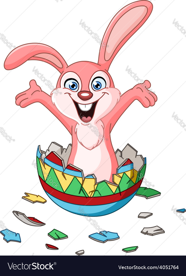 Bunny hatching from easter egg vector