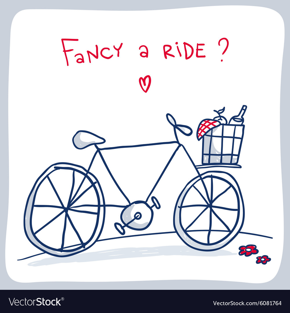 Cute sketch of bicycle with basket valentine card vector