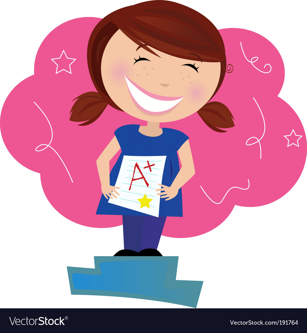 Happy small child dreaming about good grades vector