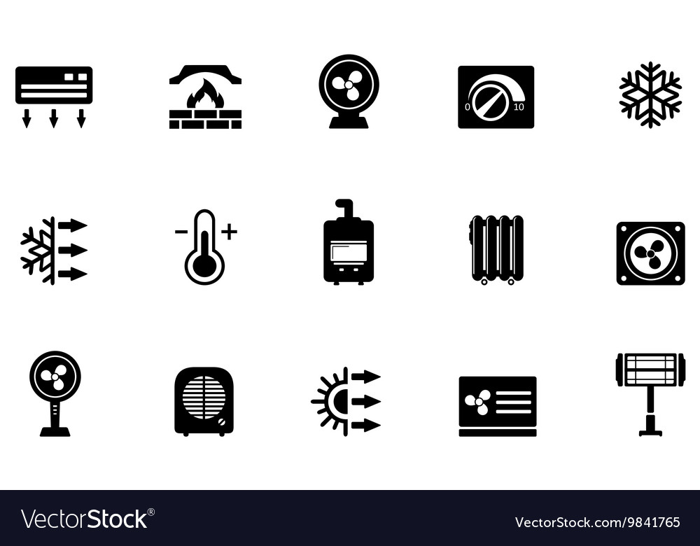 Air conditioning fan and heater icons vector