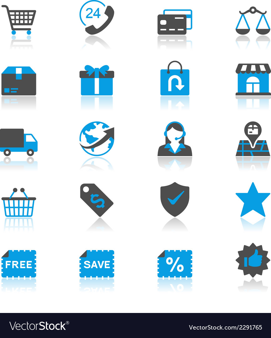 Ecommerce flat with reflection icons vector