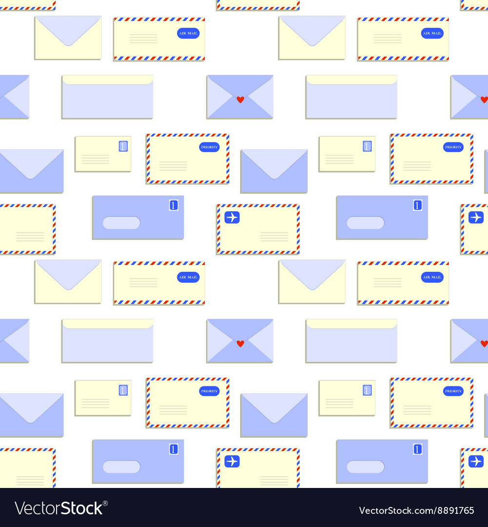 Snail mail letters envelopes seamless pattern vector