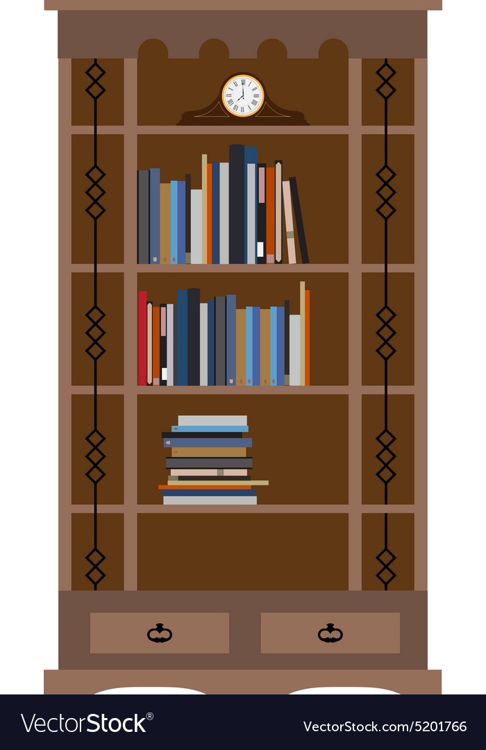 Bookcase with old shelf clock vector