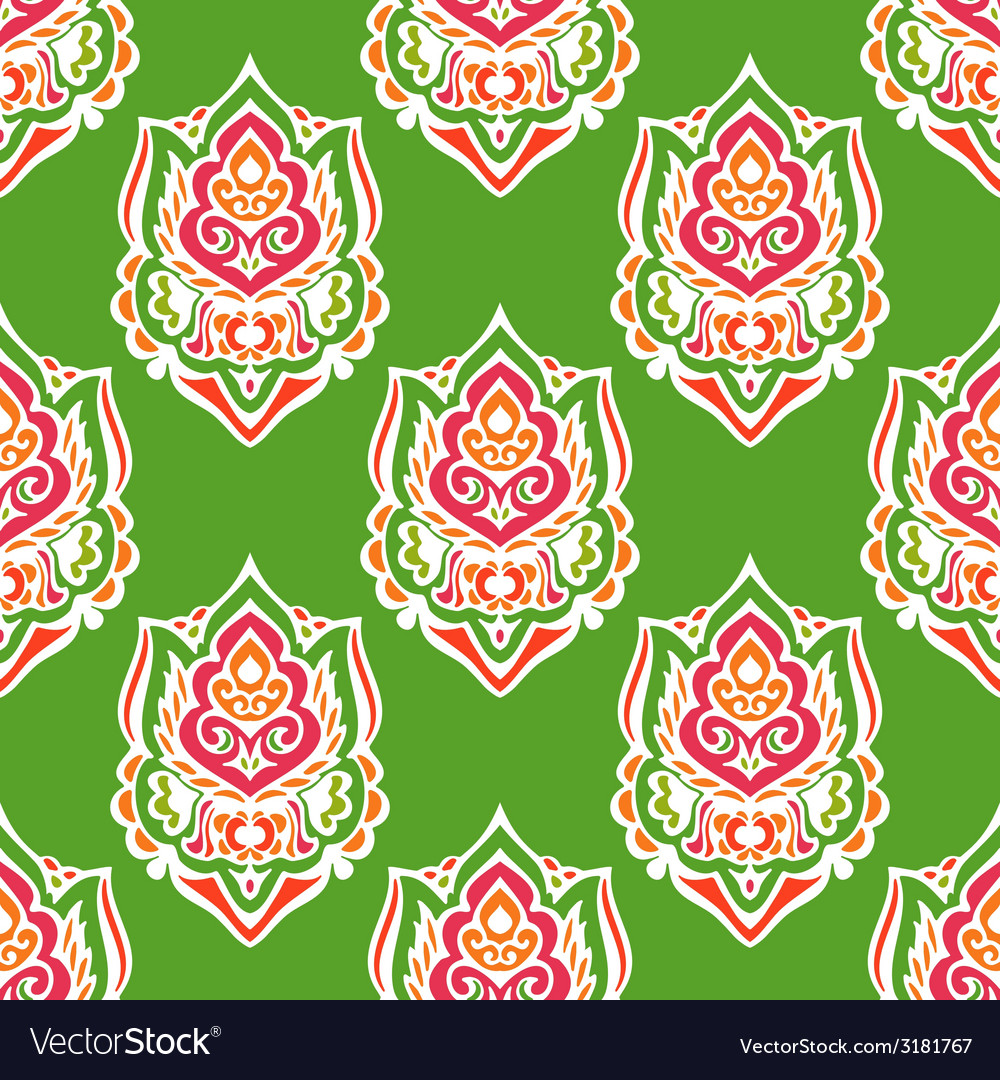 Green damask seamless abstract background vector