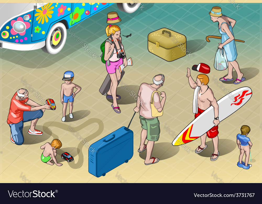 Isometric tourists peoples set in vacation vector