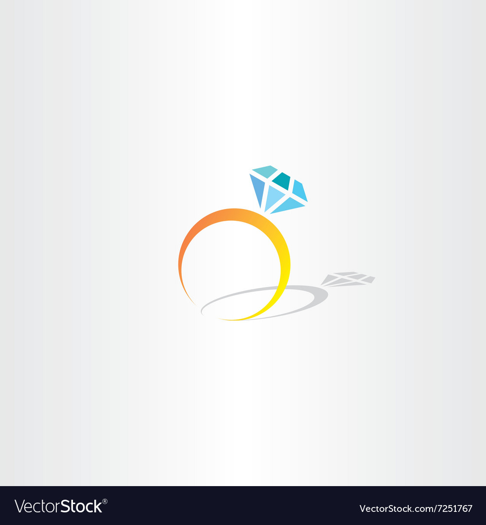 Ring with diamond icon logo vector