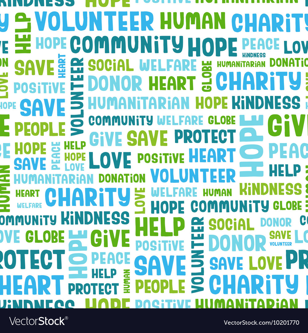 Charity word cloud concept vector