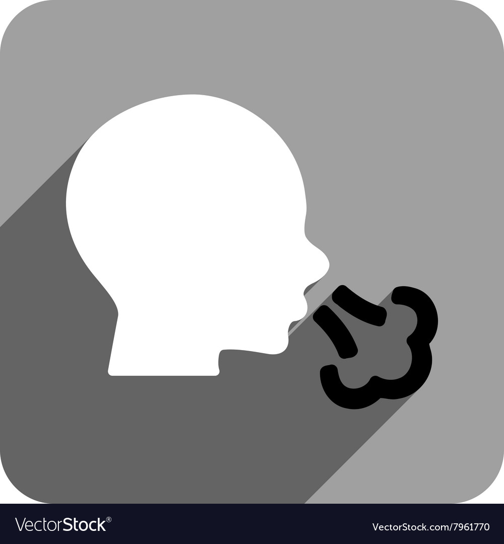 Sneezing flat square icon with long shadow vector