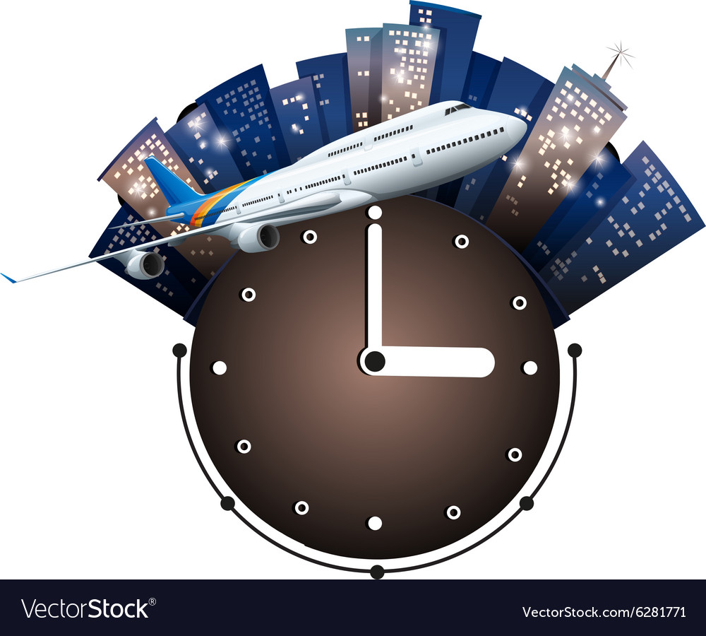 Airplane flying around the clock vector
