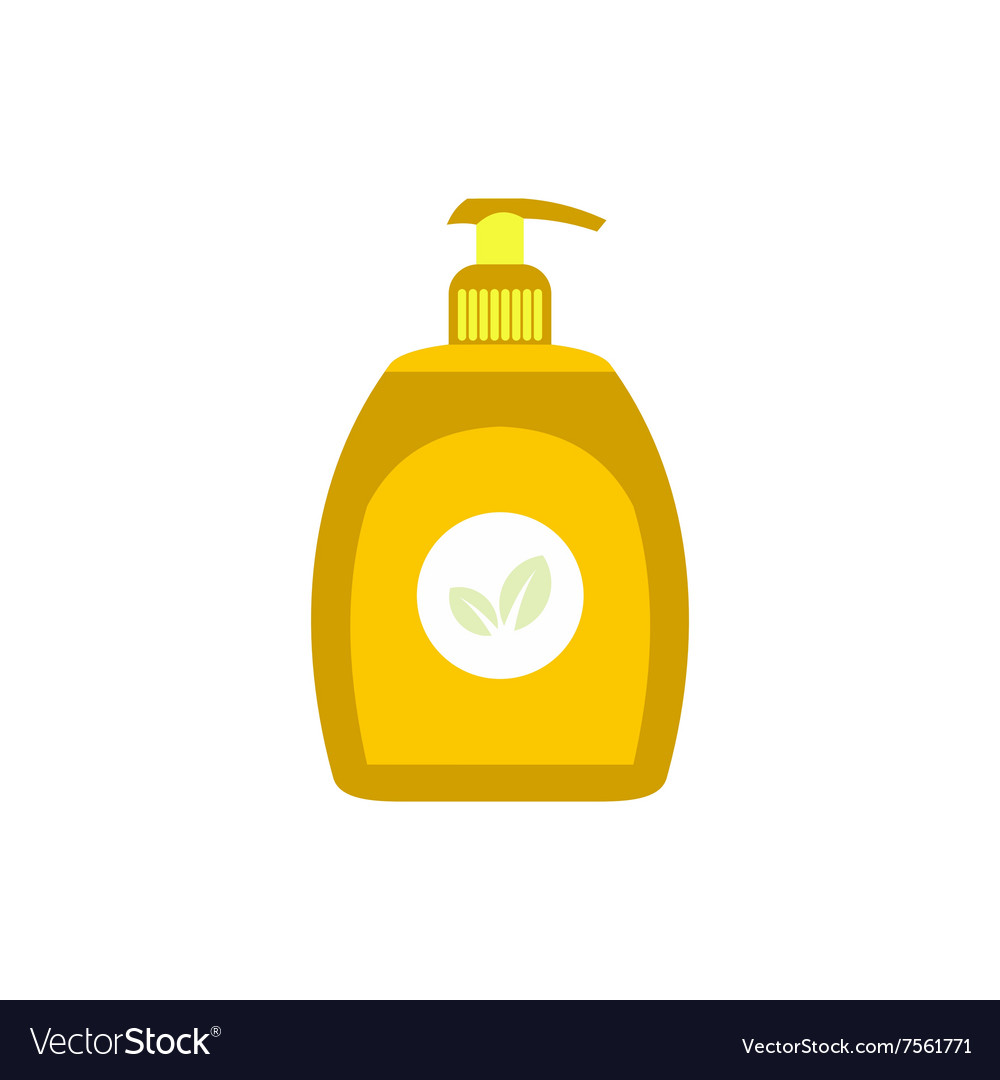 Yellow plastic bottle with liquid soap flat icon vector