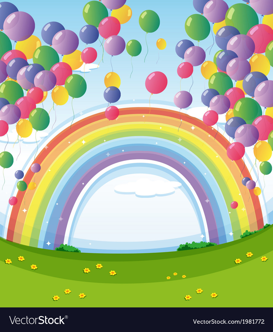 A sky with a rainbow and a group of floating vector
