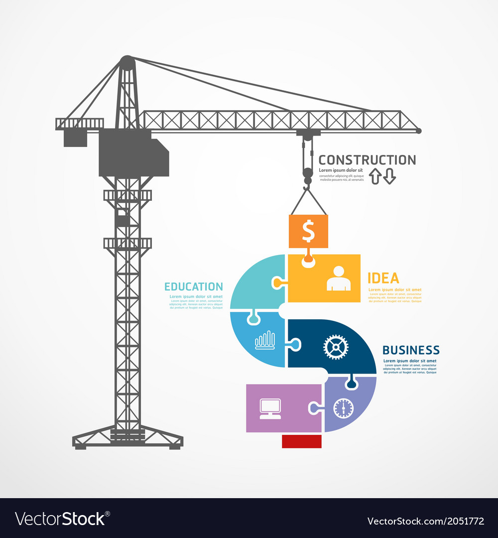 Infographic template with construction tower crane vector