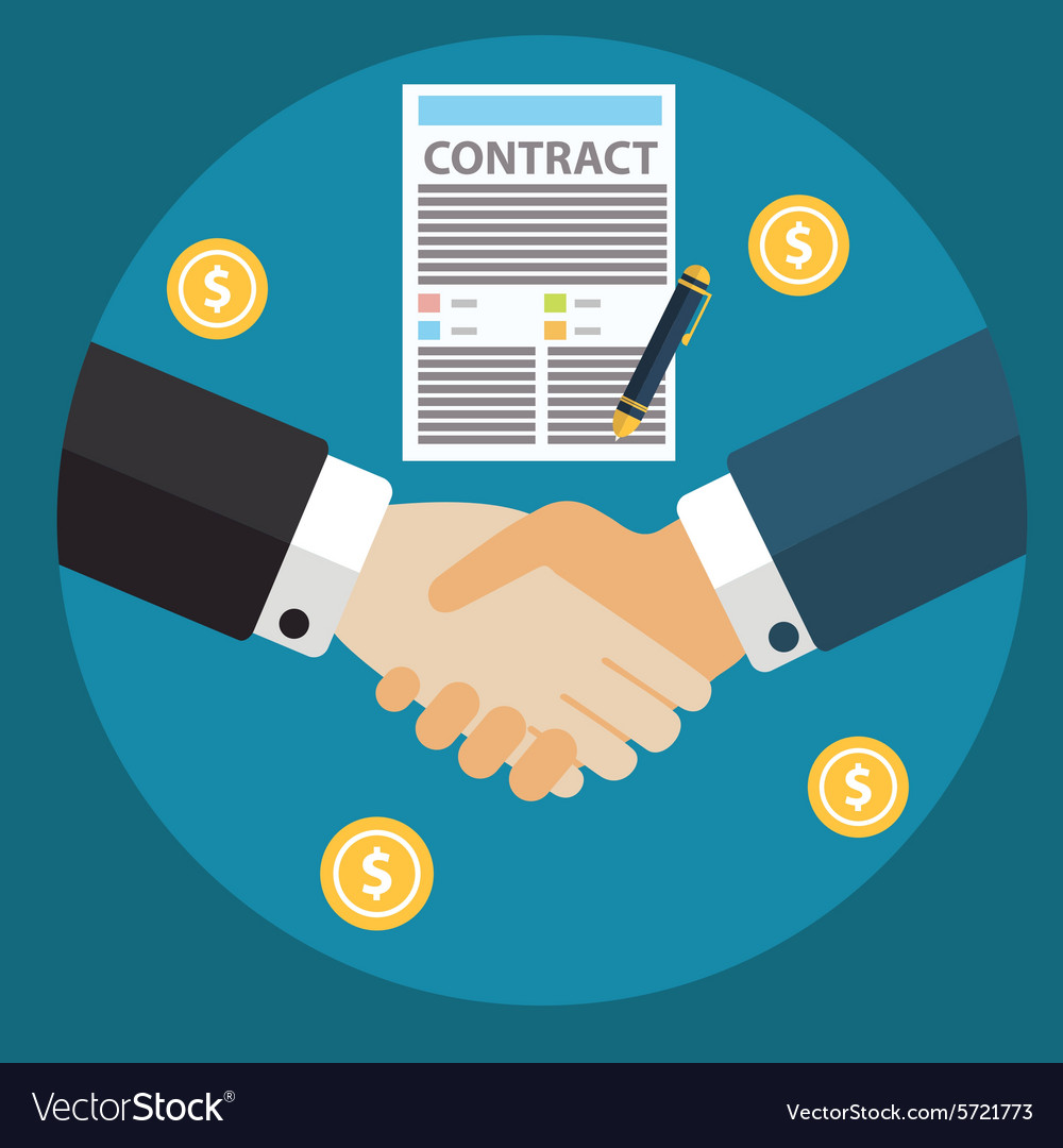 Businessman hand sign business contract paper vector