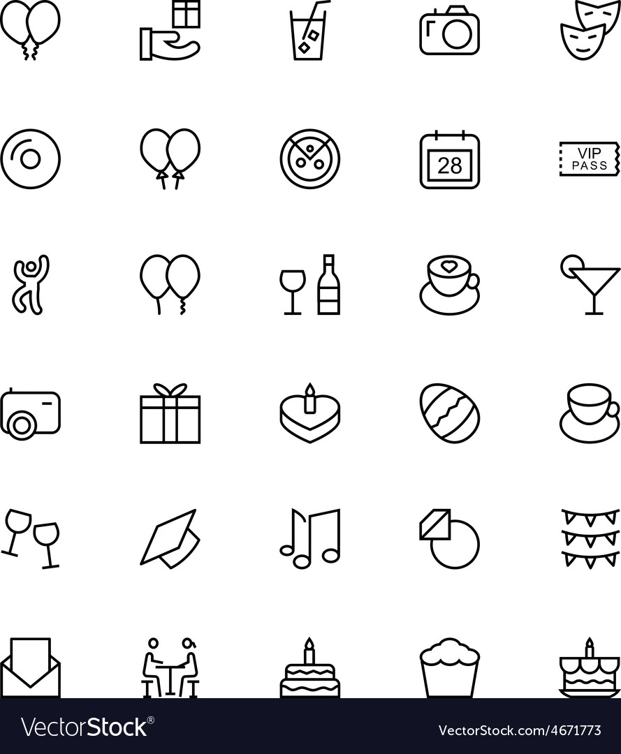 Celebration line icons 1 vector