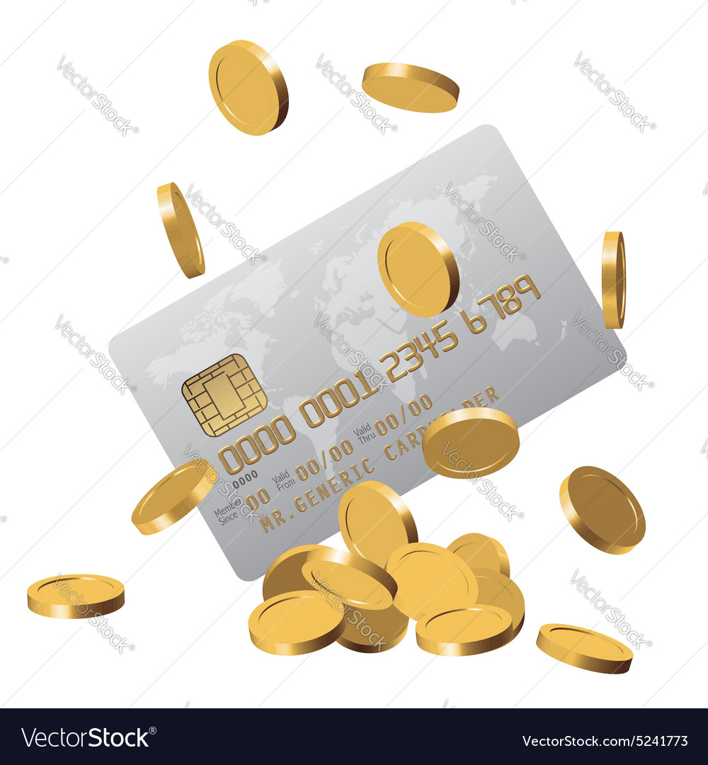 Chipped credit card and a bunch of golden coins vector