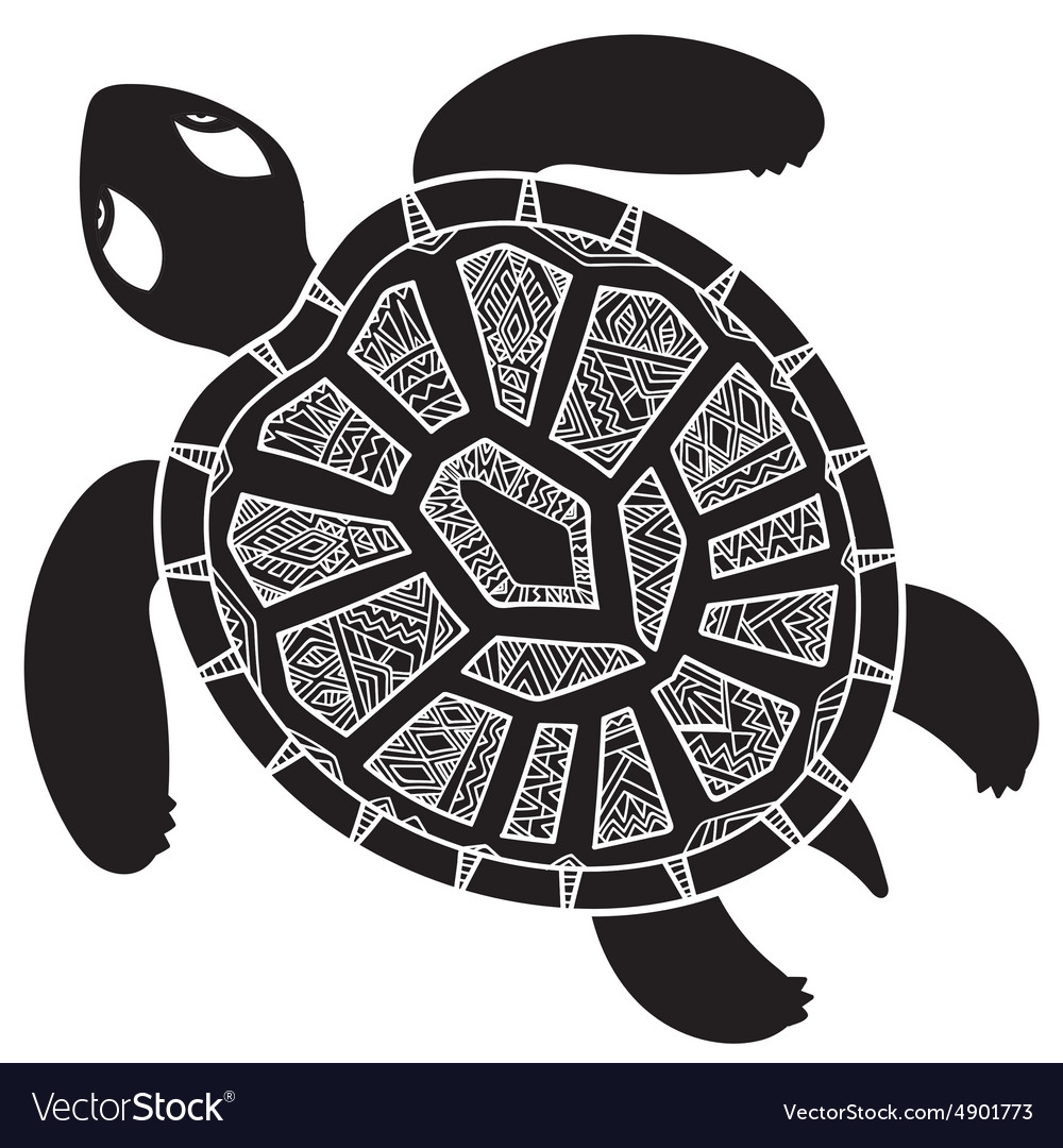 Decorative graphic turtle tribal totem animal vector