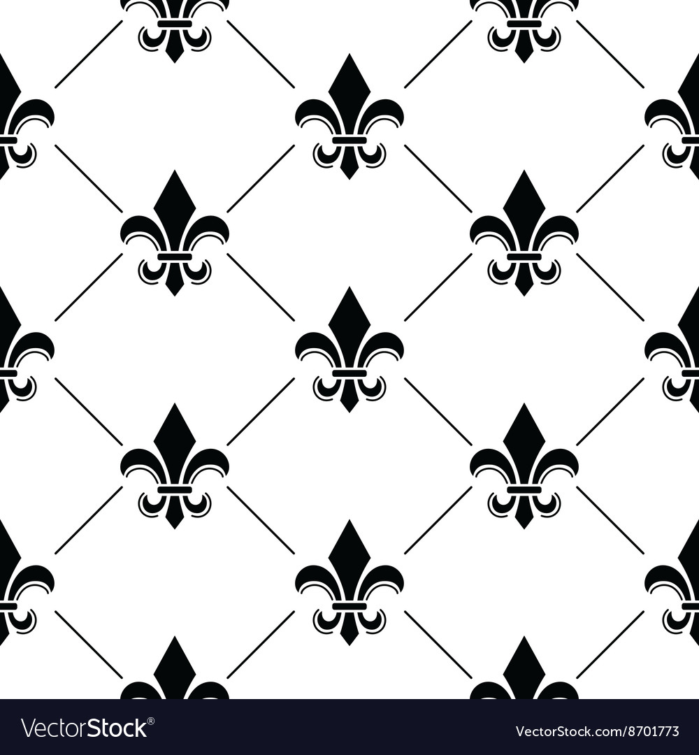 French damask background  fleur de lis pattern vector