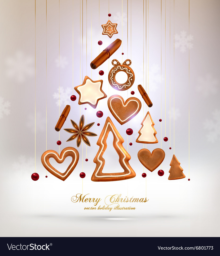 Gingerbread christmas design vector