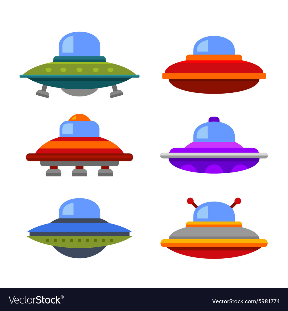 Cartoon flat style ufo spaceship icon set vector