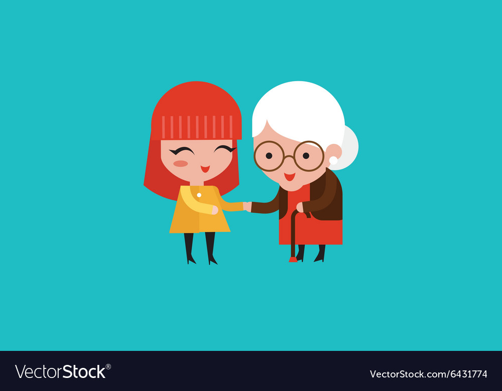 Young volunteer woman caring for elderly woman vector