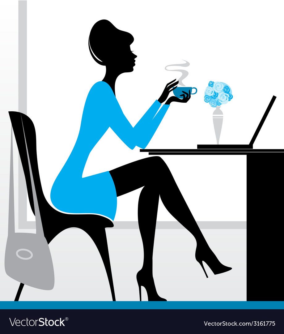 Girl with laptop vector