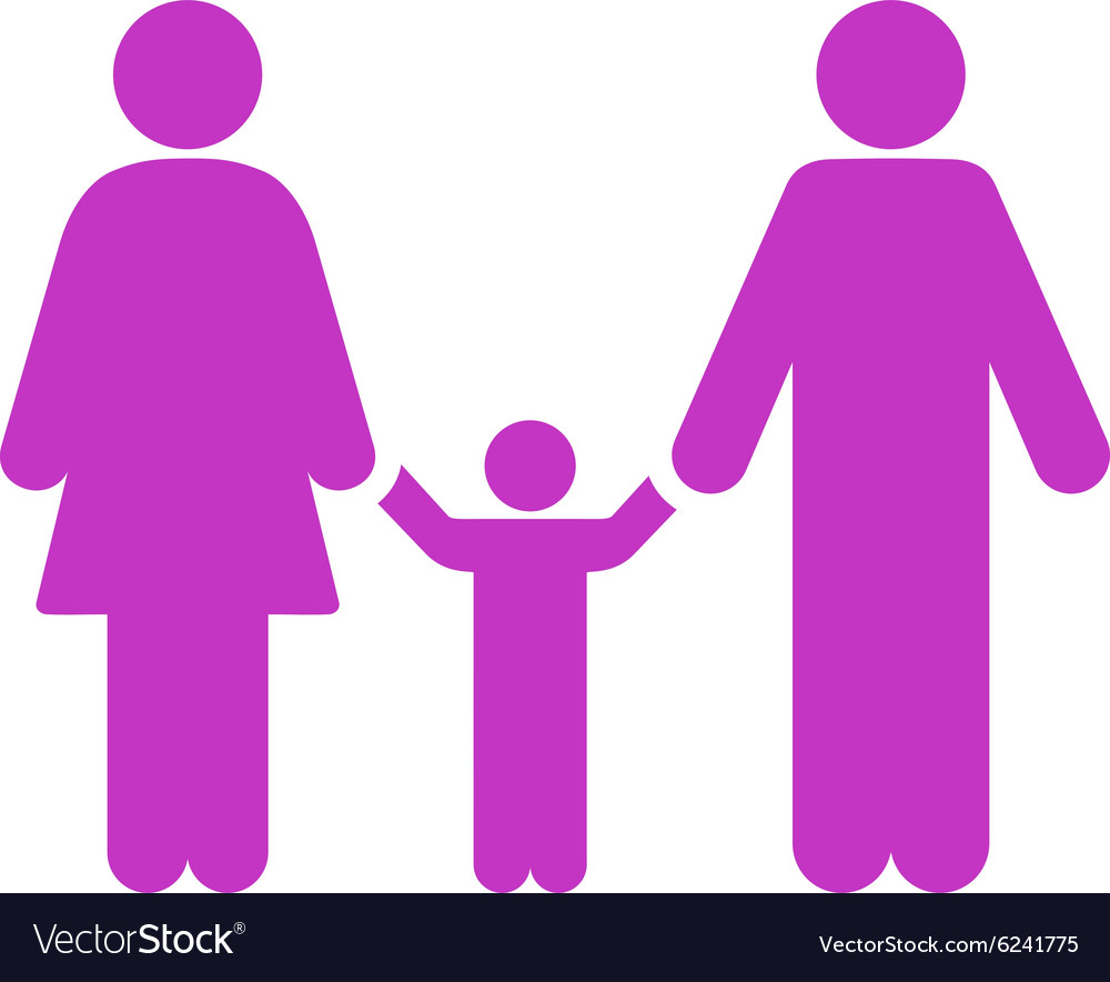 Parents and child icon vector