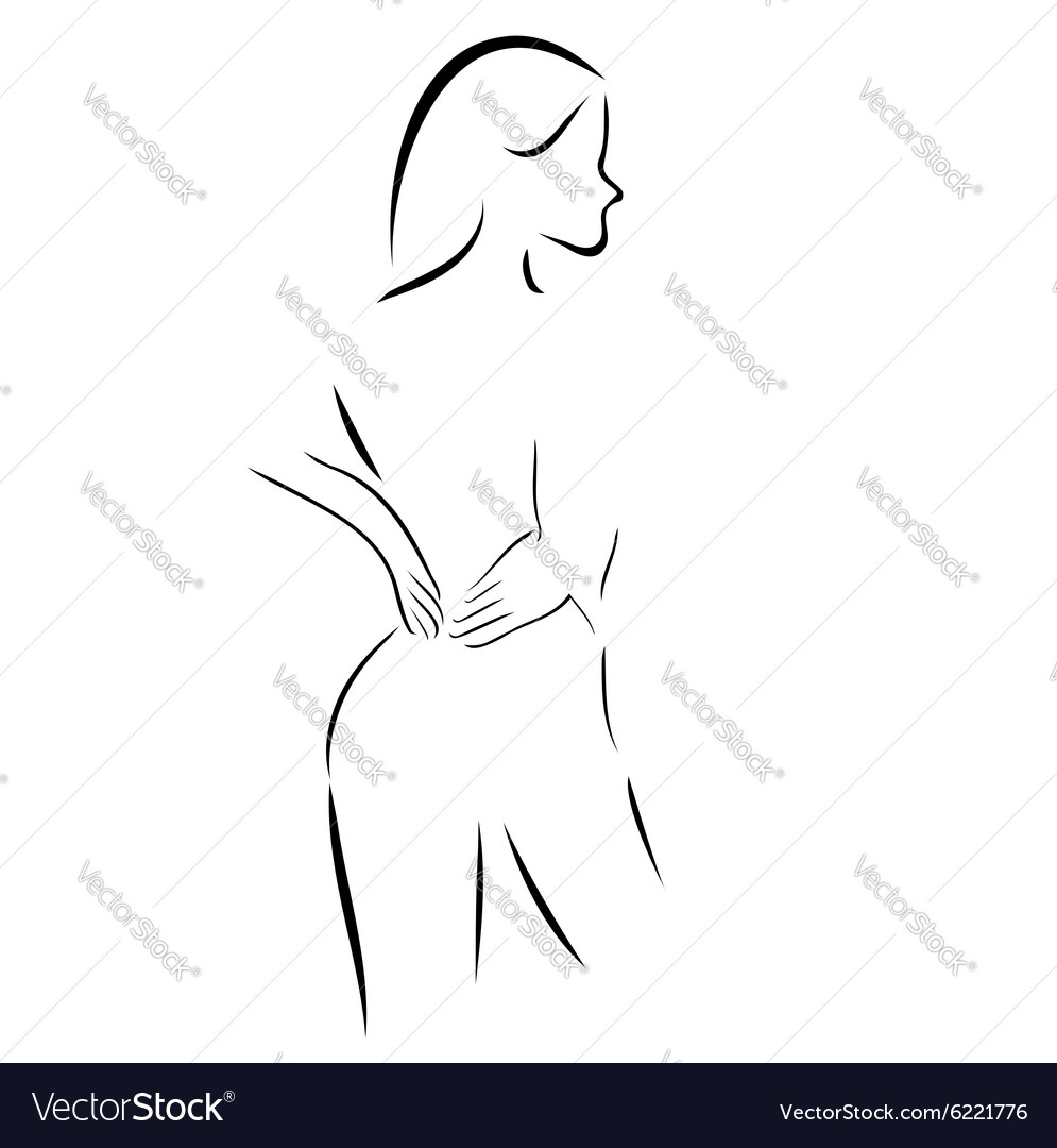 Abstract drawing of a woman massaging her back vector
