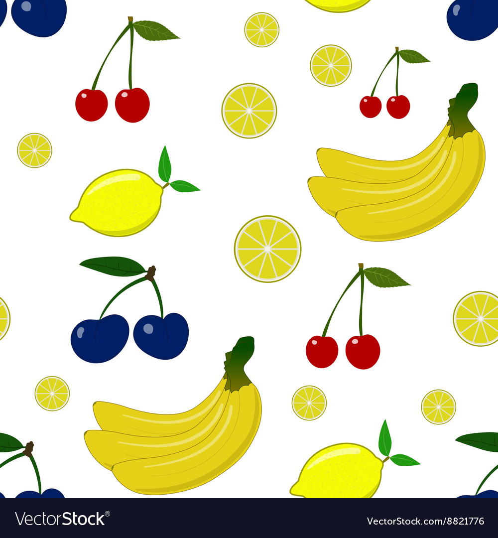 Seamless pattern with lemon plum cherry vector