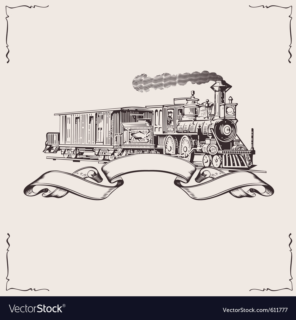 Vintage locomotive banner vector