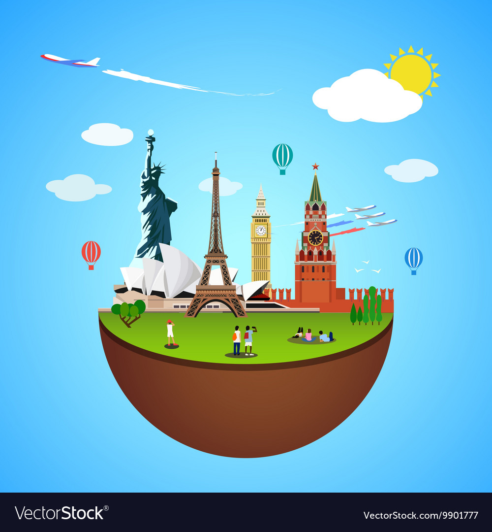 World landmarks concept for vector