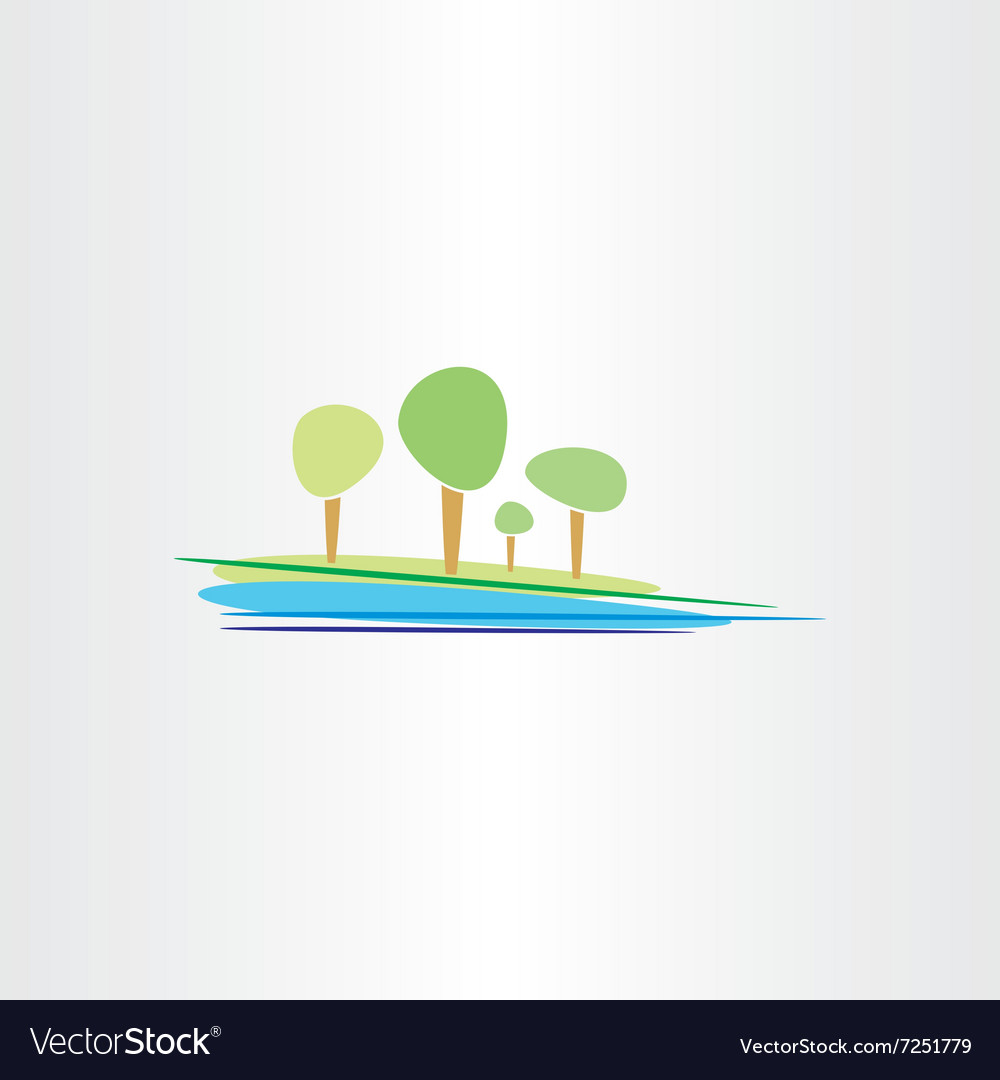 Landscape river and trees design vector