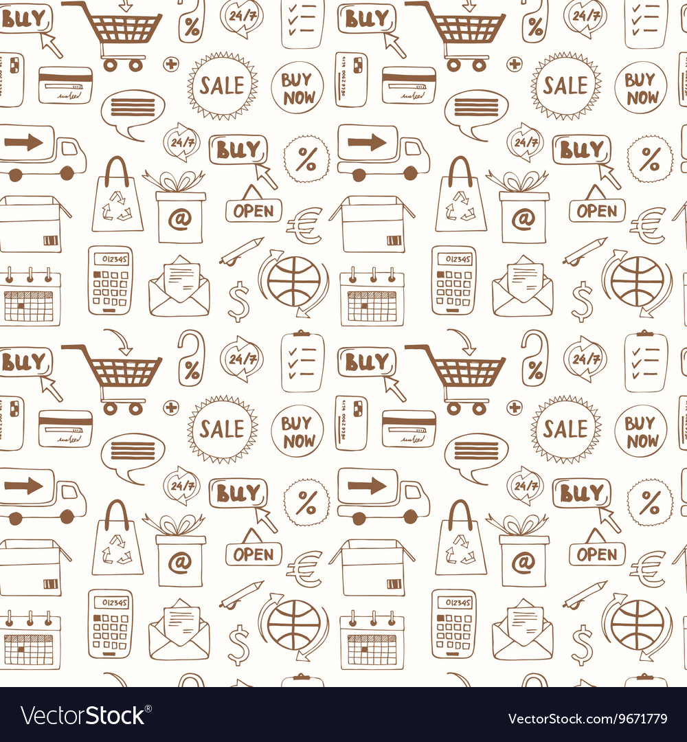 Seamless pattern with doodle sketch shopping icons vector