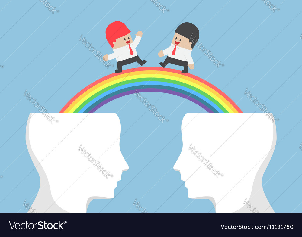 Businessman walking on rainbow from head vector