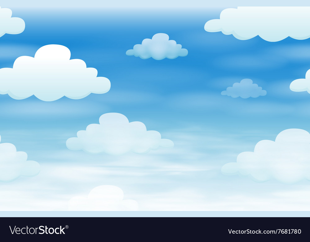 Seamless background with clouds in the sky vector