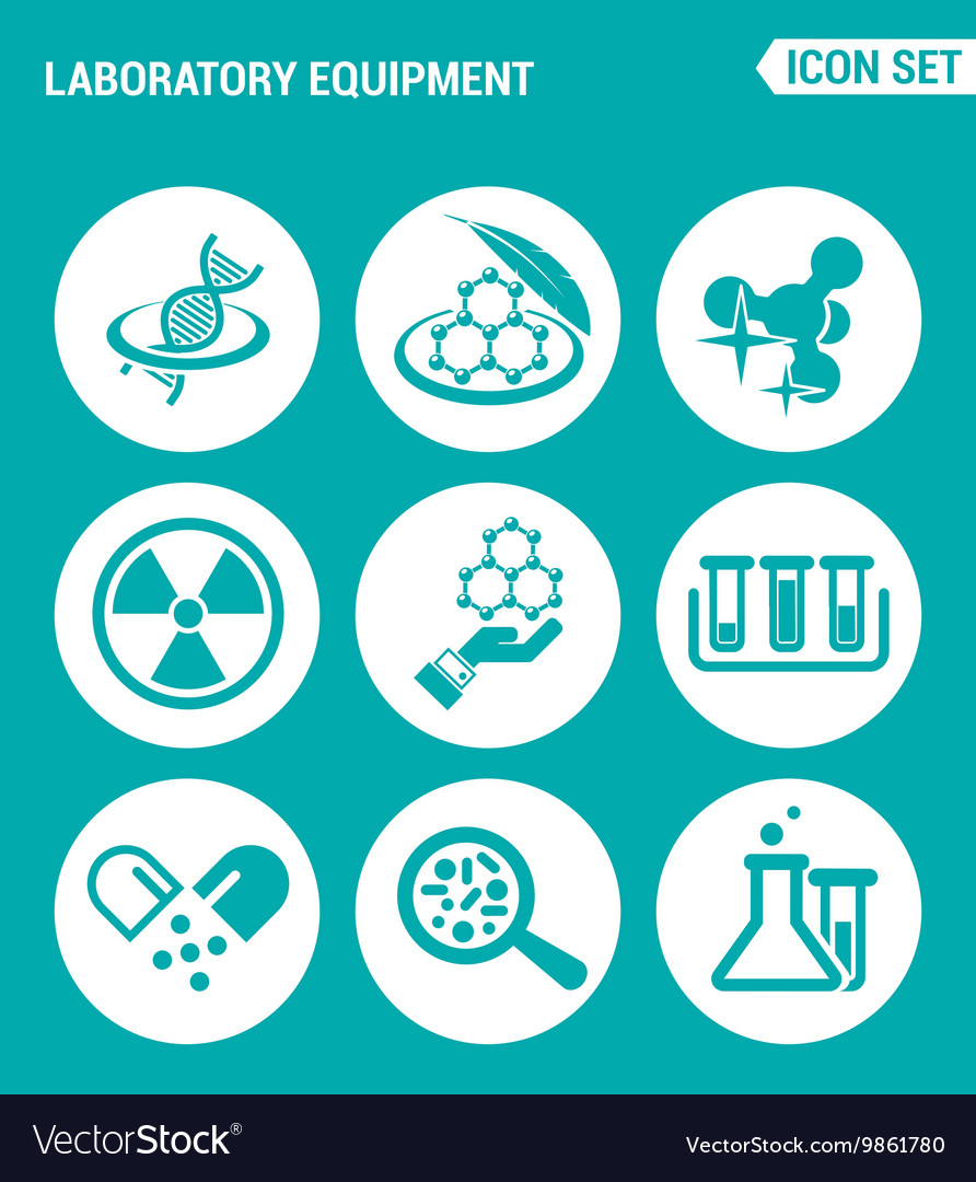 Set of round icons white laboratory equipment vector
