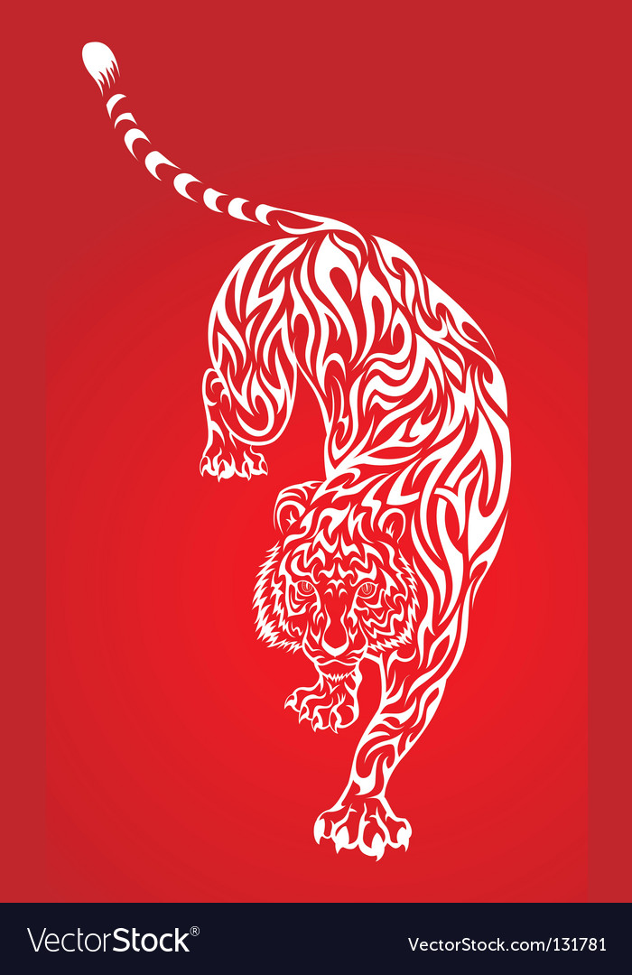 Tiger tattoo 2 red vector