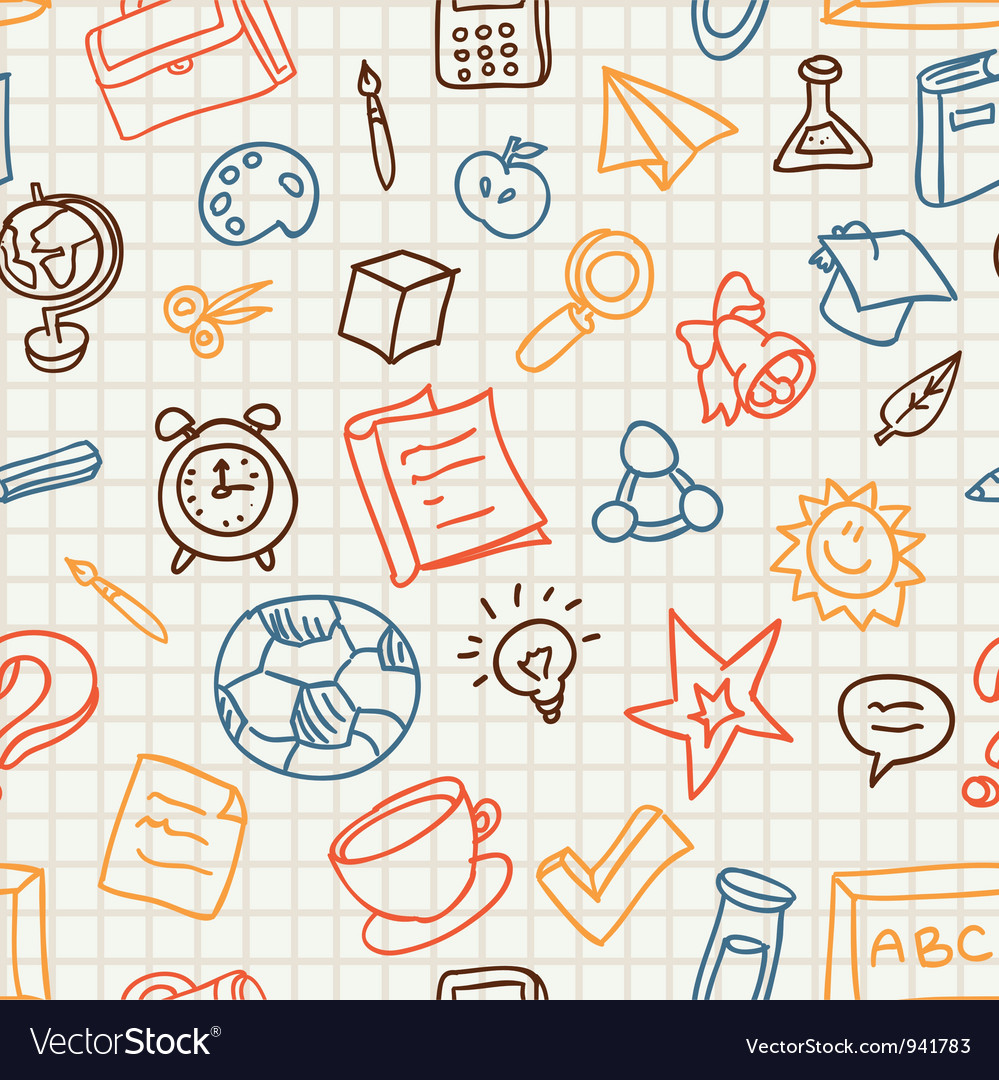 Bright seamless pattern with education and school vector