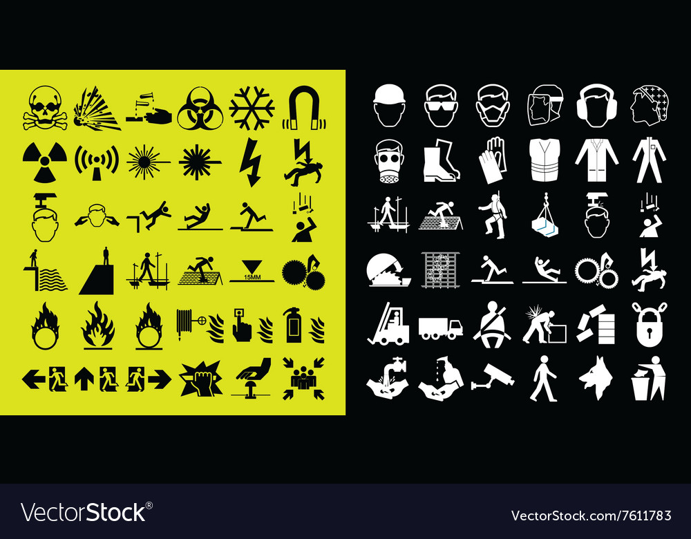 Construction and hazard warning icon collection vector