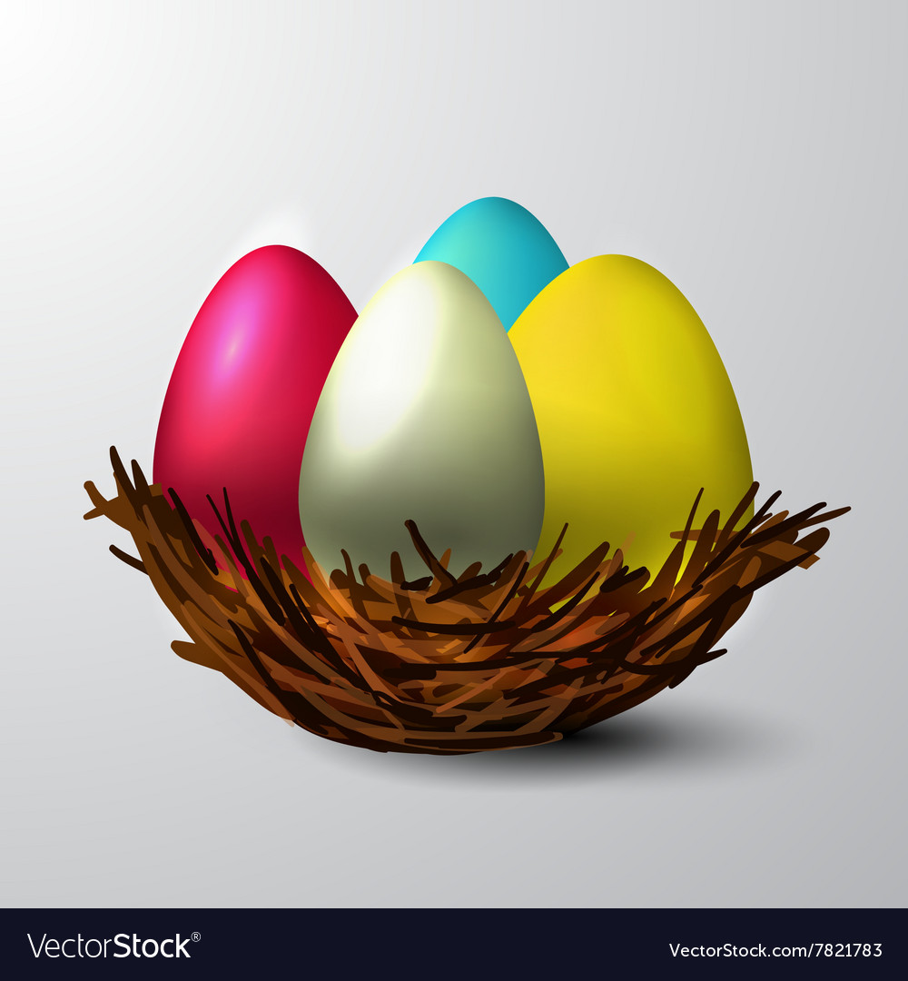 Easter nest isolated vector