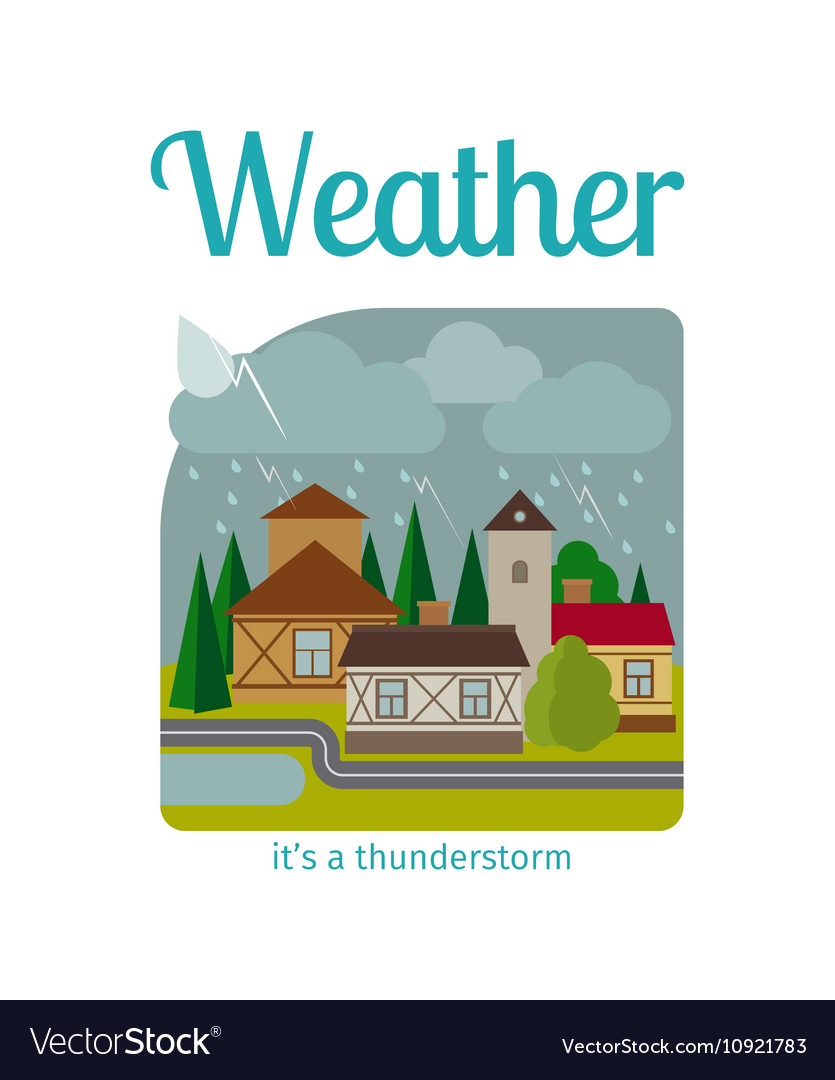 Thunderstorm in town vector