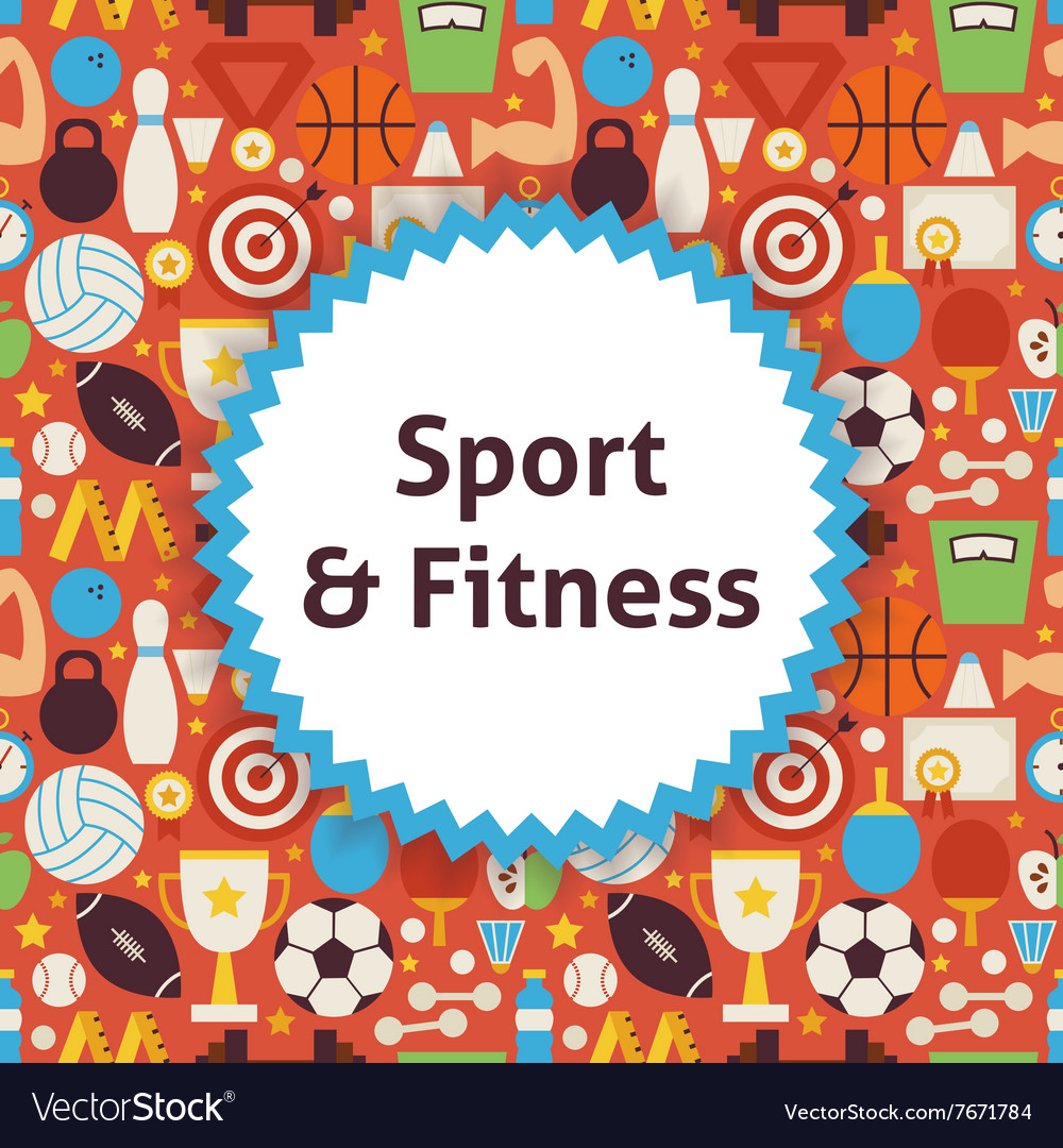 Flat pattern sport healthy lifestyle background vector