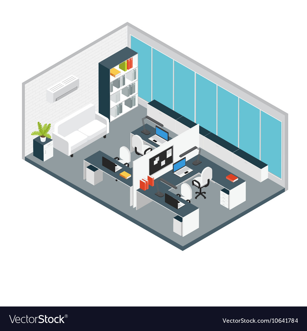 Isometric interior office workplace composition vector