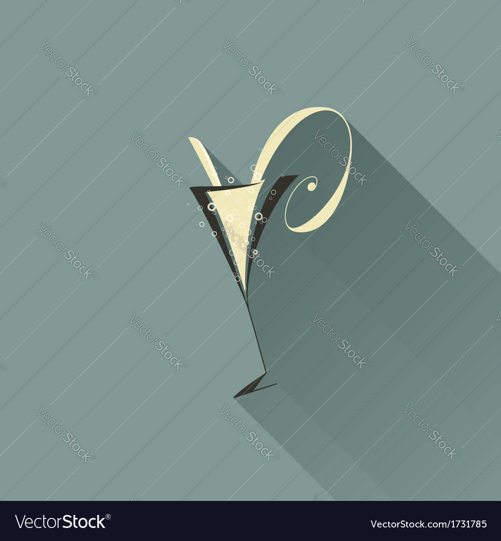 Glass of champagne with long shadow vector