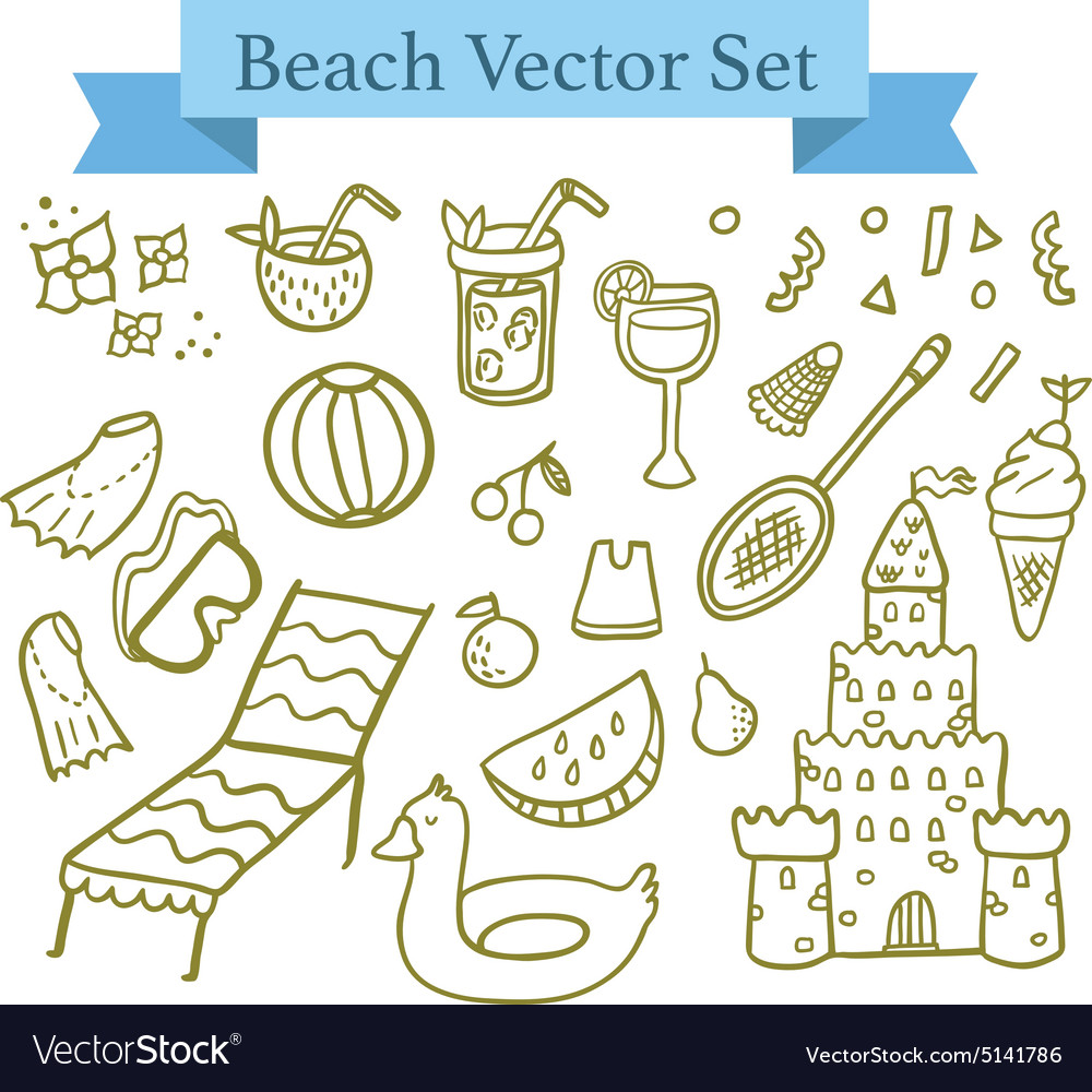 Beach elements vector