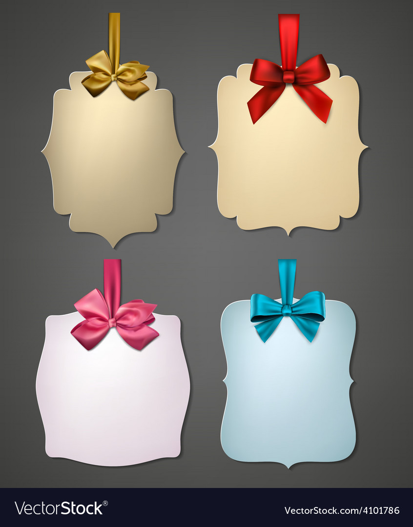 Paper gift cards with color satin bows vector