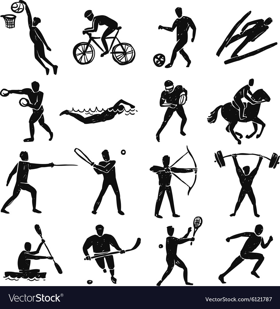 Sport sketch people set vector