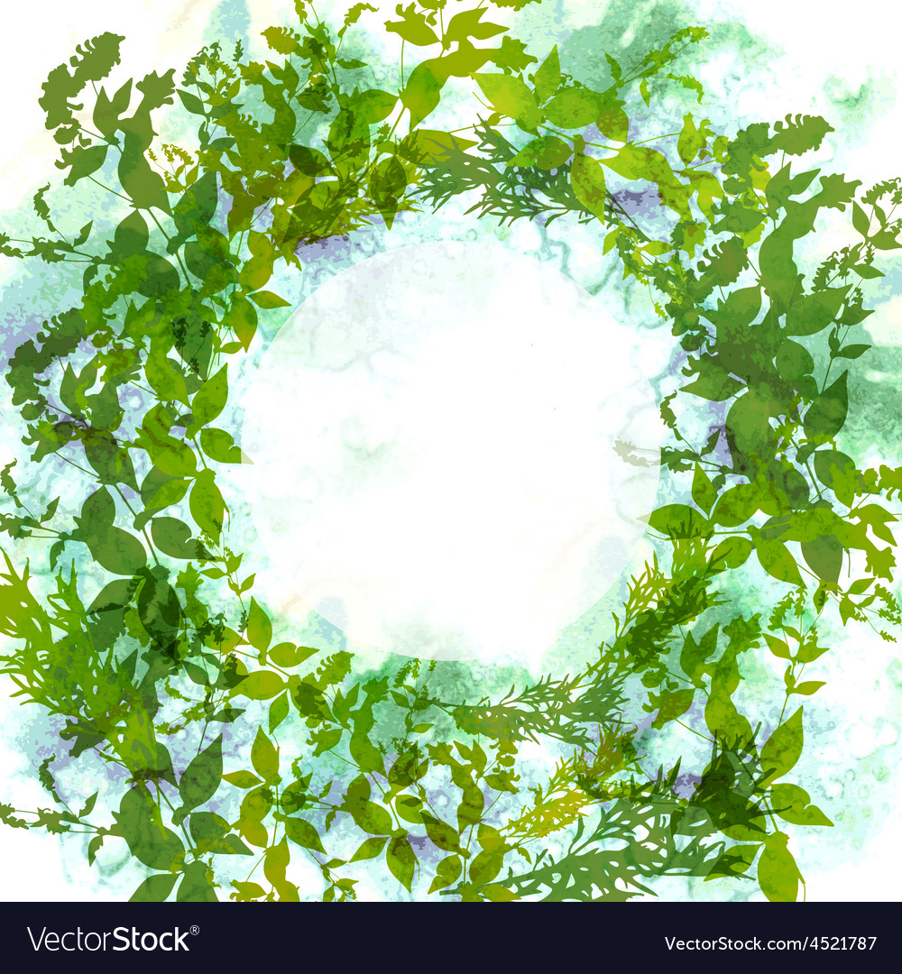 Spring background wreath with green leaves vector