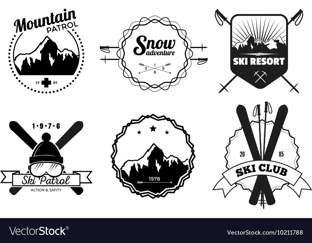 Ski resort emblems vector